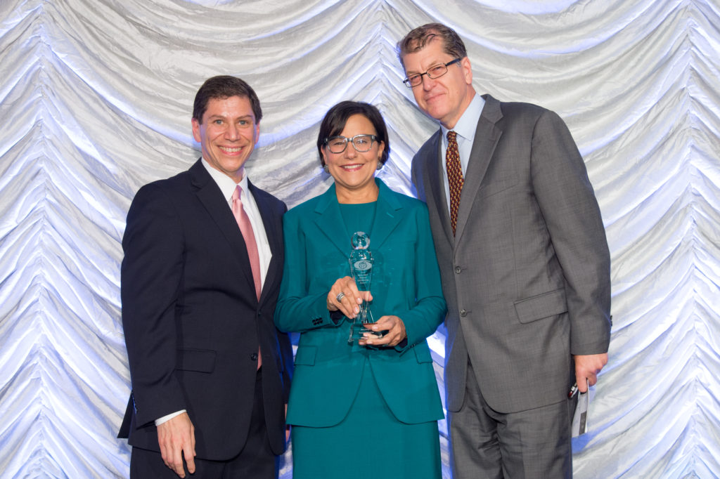 Global Leadership Award: Honoree Secretary Penny Pritzker of U.S. Department of Commerce with presenter Steve Clemens of The Atlantic and AtlanticLIVE